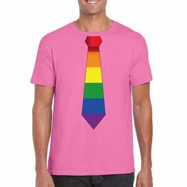 Azalea roze t shirt regenboog vlag stropdas heren carnavalskleding va