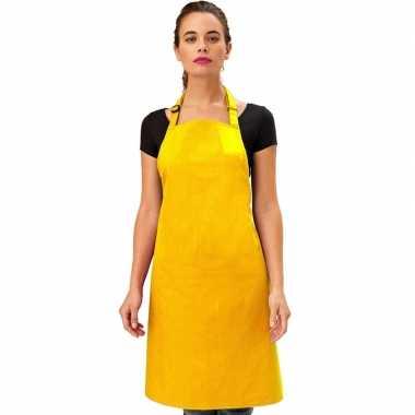 Barbecue keukenschort volwassenen geel carnavalskleding valkenswaard