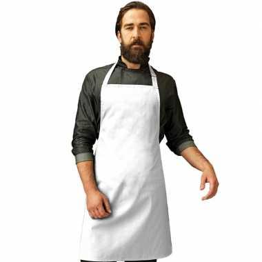 Barbecue keukenschort volwassenen wit carnavalskleding valkenswaard