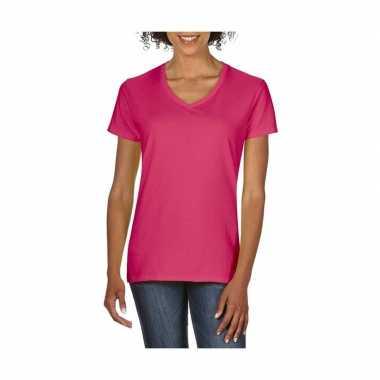 Basic dames t shirt v hals roze carnavalskleding valkenswaard