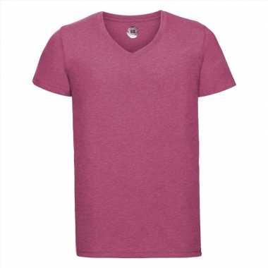 Basic heren t shirt v hals roze carnavalskleding valkenswaard