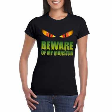 Beware of my monster halloween t shirt zwart dames carnavalskleding v