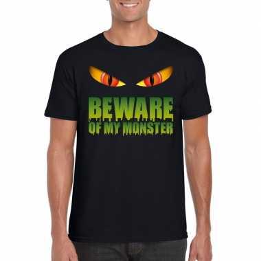 Beware of my monster halloween t shirt zwart heren carnavalskleding v