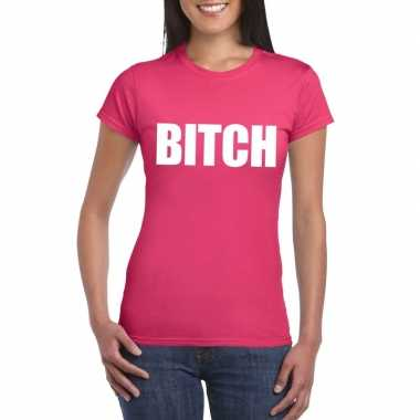 Bitch tekst t shirt roze dames carnavalskleding valkenswaard