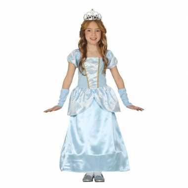 Blauw prinsessen verkleedjurkje meisjes carnavalskleding valkenswaard