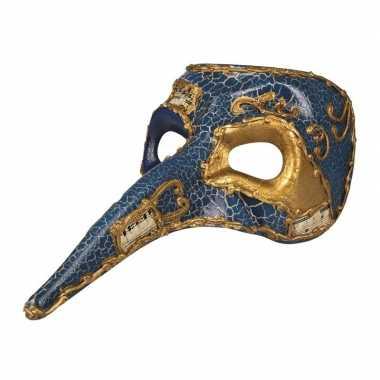 Blauw venetiaans snavel masker heren carnavalskleding valkenswaard