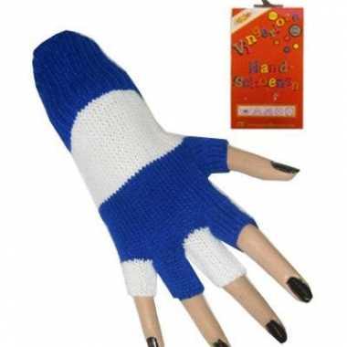 Blauw/wit gestreepte handschoenen carnavalskleding Valkenswaard