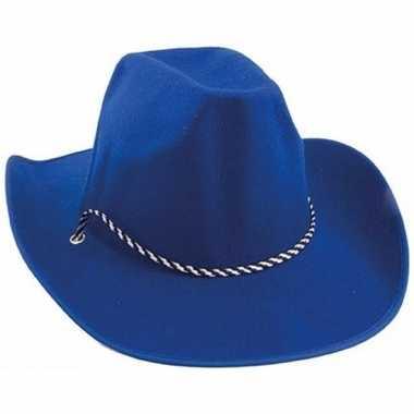 Blauwe cowboyhoeden koord carnavalskleding valkenswaard