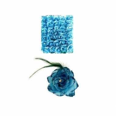 Blauwe deco bloem speld/elastiek carnavalskleding valkenswaard