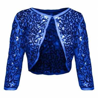 Blauwe glitter pailletten disco bolero jasje dames carnavalskleding v