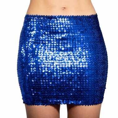 Blauwe glitter pailletten disco rokje dames carnavalskleding valkensw