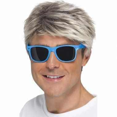 Blauwe neon feestbril volwassenen carnavalskleding valkenswaard