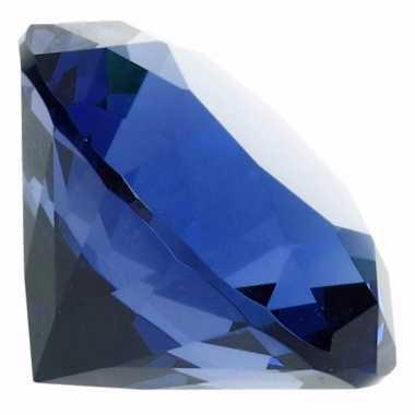 Blauwe nep diamant glas 10095192