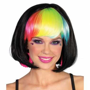 Boblijn pruik zwart rainbow pony carnavalskleding valkenswaard