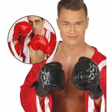 Bokser verkleed handschoenen rood volwassenen carnavalskleding valken
