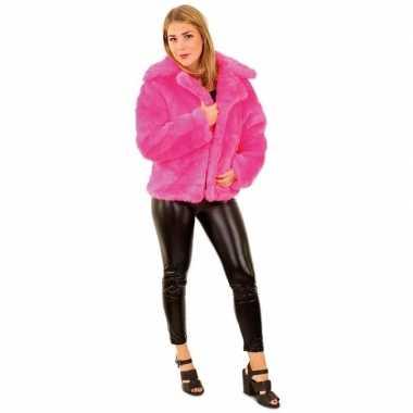 Bontjas neon roze dames carnavalskleding valkenswaard