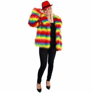 Bontjas regenboog print dames carnavalskleding valkenswaard