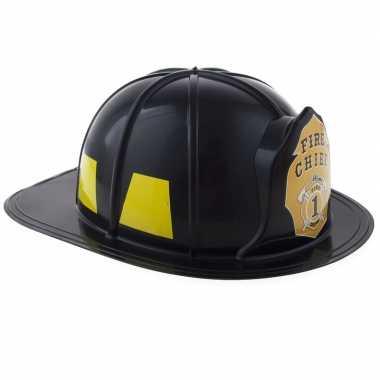 Brandweer verkleed helm zwart volwassenen carnavalskleding valkenswaa