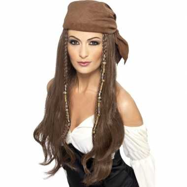 Bruine piratenpruik bandana dames carnavalskleding valkenswaard
