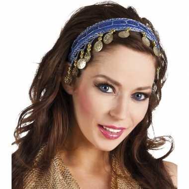 Buikdanseres hoofdband/diadeem kobalt blauw dames verkleedaccess carn