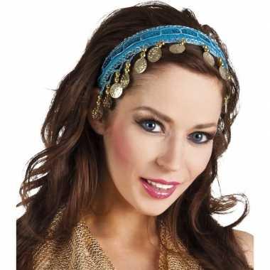Buikdanseres hoofdband/diadeem turquoise blauw dames verkleedacc carn