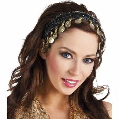Buikdanseres hoofdband/diadeem zwart dames verkleedaccessoire carnava