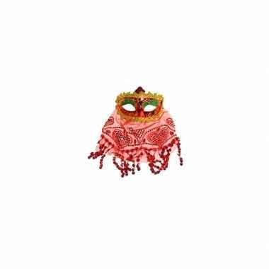 Buikdanseres oogmasker rood carnavalskleding valkenswaard