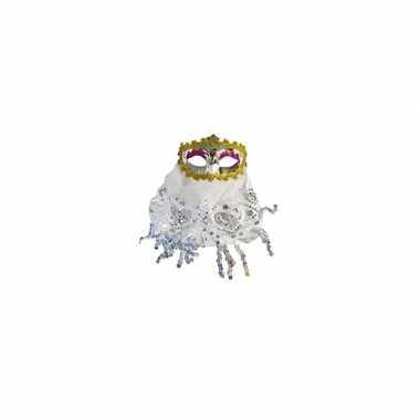 Buikdanseres oogmasker wit carnavalskleding valkenswaard