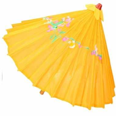 Chinese paraplu oranje/geel carnavalskleding valkenswaard