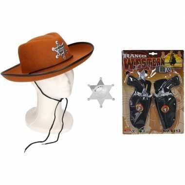 Cowboy accessoire set bruin kinderen carnavalskleding valkenswaard
