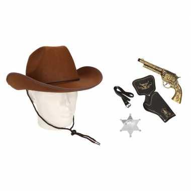 Cowboy accessoire set bruin volwassenen carnavalskleding valkenswaard