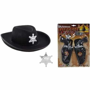 Cowboy accessoire set zwart kinderen carnavalskleding valkenswaard