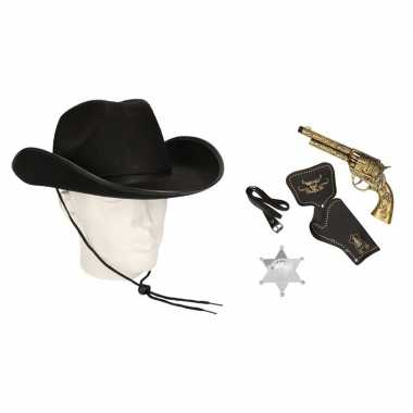 Cowboy accessoire set zwart volwassenen carnavalskleding valkenswaard