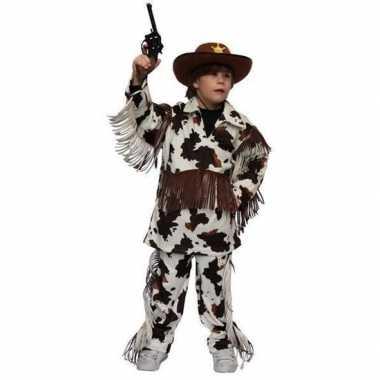 Cowboy carnavalskleding koeienprint kinderen valkenswaard