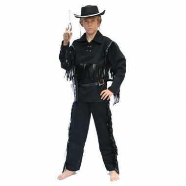 Cowboy carnavalskleding zwart kinderen valkenswaard