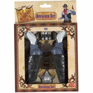 Cowboy verkleedset revolvers holster volwassenen carnavalskleding val