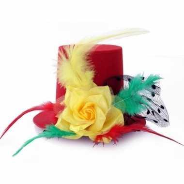 Dames hoedje clip rood/geel/groen carnavalskleding valkenswaard