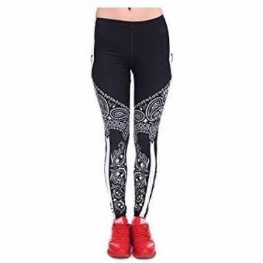 Dames legging paisley zwart/wit print carnavalskleding valkenswaard