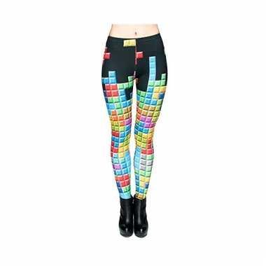 Dames party legging tetris print carnavalskleding valkenswaard