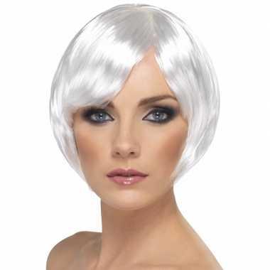 Damespruik wit kort haar carnavalskleding valkenswaard