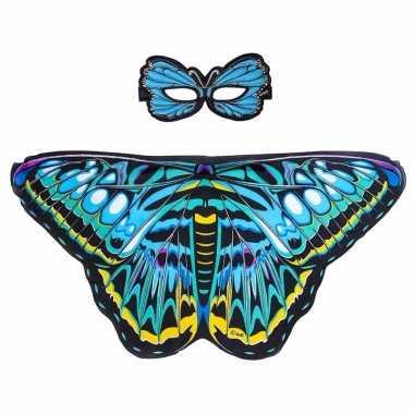 Dans aurelia blauwe vlindervleugels kinderen carnavalskleding valkens