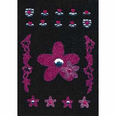 Decoratie glitter stickers bloem carnavalskleding valkenswaard
