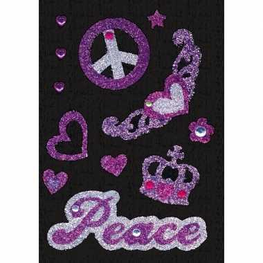 Decoratie glitter stickers vrede carnavalskleding valkenswaard