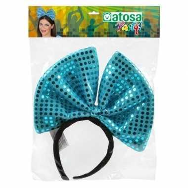 Diadeem grote blauwe strik pailletten dames carnavalskleding valkensw