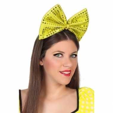 Diadeem grote gele strik pailletten dames carnavalskleding valkenswaa