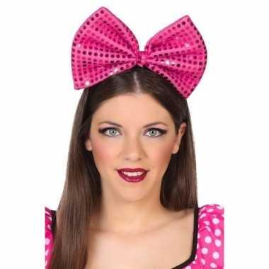 Diadeem grote roze strik pailletten dames carnavalskleding valkenswaa