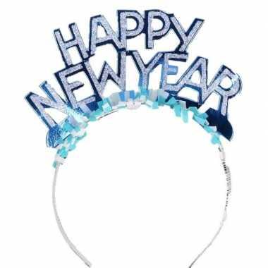 Diadeem happy new year blauw volwassenen carnavalskleding valkenswaard