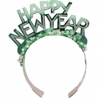 Diadeem happy new year groen volwassenen carnavalskleding valkenswaard