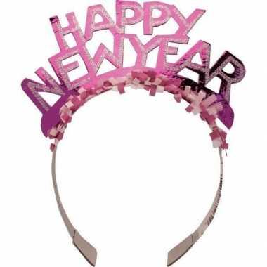 Diadeem happy new year roze volwassenen carnavalskleding valkenswaard