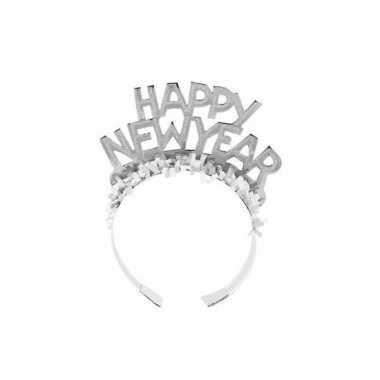 Diadeem happy new year zilver volwassenen carnavalskleding valkenswaa